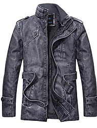 Men's Fashion in the Long Section of Tough Leather Jacket Coat