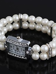 Women's Rectangular-Shaped Alloy Inlay Rhinestone Imitated Pearl Bracelet Watch White (1Pc) Cool Watches Unique Watches Fashion Watch
