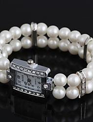 Femme Montre Tendance Quartz résine Bande Perles Blanc Marque-