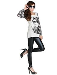 Mengjie Women's Fashion Sequin Patent Leather Bodycon Crop Leggings