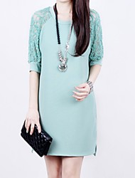 Women's Solid White/Black/Green Dress , Casual/Lace Round Neck ½ Length Sleeve