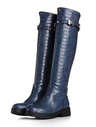 Zapatos de mujer - Tacón Bajo - Punta Redonda / Botas de Moto - Botas - Vestido / Casual - Semicuero - Negro / Azul