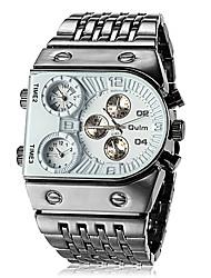 Men's Three Time Zones Black Steel Band Quartz Wrist Watch (Assorted Colors)