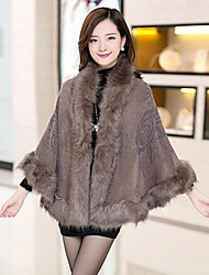 TS Women's Fashion Faux Fur Collar Cape Coat