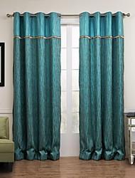 sala de oscurecimiento azul pavo real moderno cortina de jacquard (dos paneles)