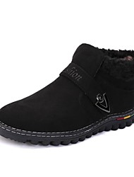 Men's Fall Winter Suede Casual Flat Heel Lace-up Black Yellow Navy