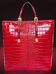 color sólido bolso de cocodrilo patrón elegante