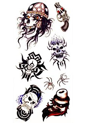 1pc King  Skull Waterproof Tattoo Sample Mold Temporary Tattoos Sticker for Body Art(18.5cm*8.5cm)