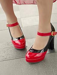 Zapatos de mujer - Tacón Robusto - Tacones / Mary Jane - Tacones - Oficina y Trabajo / Vestido - Semicuero - Negro / Amarillo / Rosa