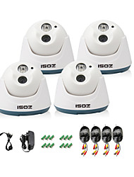 ZOSI® 4 pcs Camera Kit 800TVL IR Cut Indoor Night Vision 100ft CCTV Seurity Dome Camera