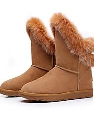 md couro longo vaca botas térmicas das mulheres com cabelo cony
