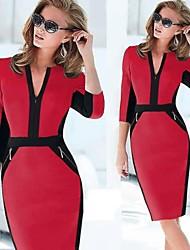 manga de longitud ½ bodycon sexy vestidos delgados vicone de las mujeres