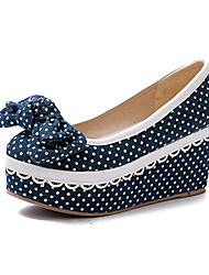 Denim Women's Wedge Heel Platform Pumps Shoes with Bowknot(More Colors)