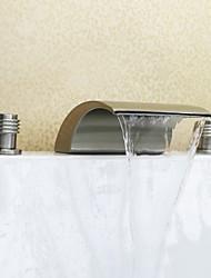 Nickel Brushed Three Holes Two Handles Waterfall Widespread Bathroom Sink Faucet