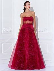 Formal Evening/Prom/Military Ball Dress - Burgundy Plus Sizes A-line/Princess Strapless Floor-length Satin/Organza