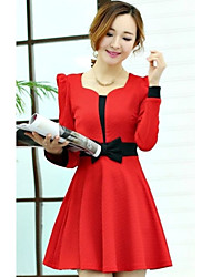 Women's Dresses , Others Bodycon/Casual Red Leaves