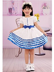 White Round Neck Short Sleeves First Communion Dress Princess Sailor Suit