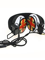 WZS- Ergonomic Hi-Fi Stereo Headphone with Mic Microphone-British Flag - Red
