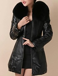 Women's Feather Padded Leather Fur Coat