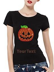 strass personalizado T-shirt do dia das bruxas abóbora padrão de algodão de mangas curtas das mulheres