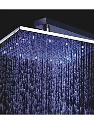 10 Inch Square Chrome 3 Colors LED Temperature Sensitive Rainfall Shower Head