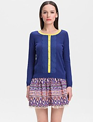 cor das mulheres contrato mangas camisola longa (mais cores)