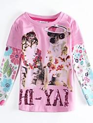 t chemise rose t-shirt exquise animal chien de la fille et le manchon antumn hiver les enfants de chat tees impression aléatoire