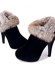Women's Shoes Round Toe Stiletto Heel Ankle Boots with Rabbit Fur Shoes More Colors available