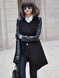 manteau pu de Jingyao femmes