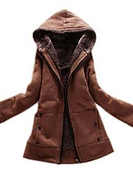 женская мода hoodied пальто