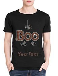 strass personalizado T-shirt do dia das bruxas algodão vaia e padrão de aranha dos homens mangas curtas