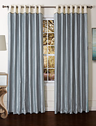 (Two Panels) Country Blue Solid Flocking Energy Saving Curtain