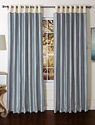 modernos dos paneles sólidos salón azul cortinas de paneles de poliéster oscuras