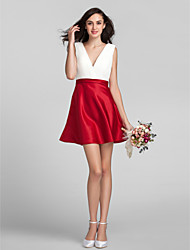 Lanting Short/Mini Georgette Bridesmaid Dress - Multi-color Plus Sizes / Petite A-line V-neck