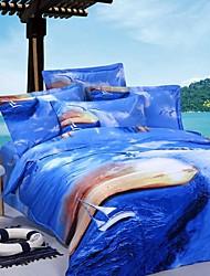 Duvet Cover Set,4-Piece 100% Cotton Reactive Print Blue Water #yg0021005101