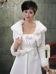 Long Sleeve Faux Fur Bridal Wedding Wrap / Evening Jacket Bolero Shrug