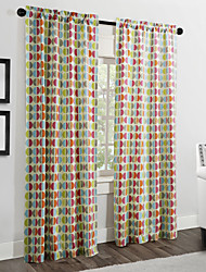 TWOPAGES® Two Panels  Contemporary Multi Color Minimalist Circles Curtains Drapes