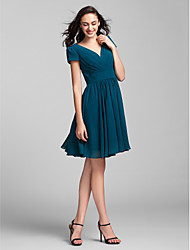 Lanting Bride Knee-length Georgette Bridesmaid Dress A-line V-neck Plus Size / Petite with Sash / Ribbon / Criss Cross / Ruching