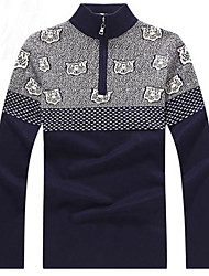 Men's XXL Plus Size Long Sleeve Pullover Half Zipper  Sweater