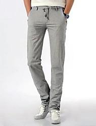 Men's Fashion Solid Color Bind Slim Long Casual Pants