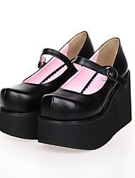 PU 10cm de cuero zapatos de plataforma lolita punky negro