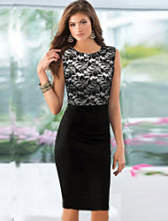 Ricci Women's Lace Joint Slim Pencil Dress