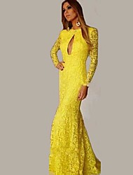 Women's Solid Yellow Dress , Sexy/Maxi Halter Long Sleeve