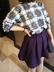 Women's Going out Cute Spring / Summer / Fall T-shirt,Check ½ Length Sleeve Medium