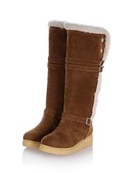 altas botas de los zapatos de las botas de nieve bajo el talón de la rodilla de la mujer con hebilla más colores disponibles
