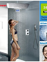 Thermostatic Shower Faucet Set UFO Modelling Ultra-thin Air Injection Water Saving Rainfall Shower Head