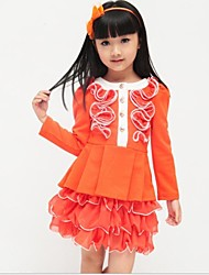 Girl's Orange / Pink / Red Dress,Solid Cotton Blend Winter / Spring / Fall
