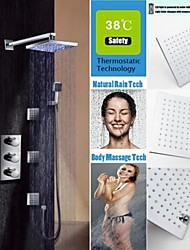 Thermostatic Shower Faucet Set, LED Temperature Sensitive 3 Colors Rainfall Shower Head And Spa Body Massage Spray Jets
