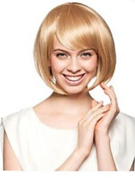 Capless Mix Color Extra Short High Quality Natural Curly Hair Synthetic Wig with Full Bang