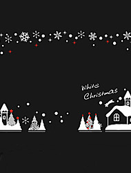 """Frohe Weihnachten Cartoon-Haus Landschaftsfensteraufkleber (59.04 """"w × 35,4"""" l)"""
